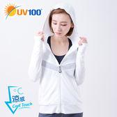 UV100 防曬 抗UV-涼感金屬拼接透氣連帽外套-女