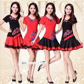 廣場舞新款套裝裙子夏季短袖女成人舞蹈服 SG3639【潘小丫女鞋】