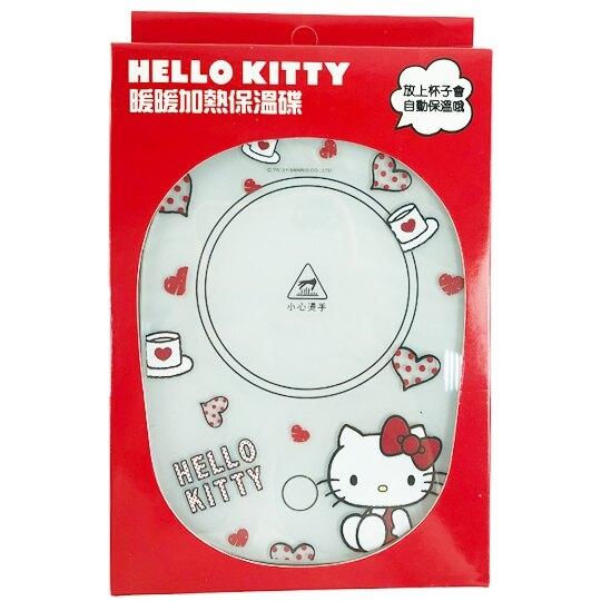 小禮堂 Hello Kitty USB玻璃保溫杯墊 恆溫杯墊 暖暖杯墊 USB杯墊 (紅 愛心) 4710810-64200