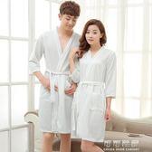 浴袍 女夏情侶華夫格薄款睡袍男士 加肥大碼七分袖性感毛巾料晨袍 可可鞋櫃