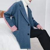 chic韓版寬鬆潮流拼接中長款毛呢風衣男士秋冬季帥氣加厚大衣外套