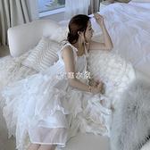 海邊度假雪紡吊帶連衣裙2021新款三亞沙灘裙仙女初戀不規則蛋糕裙 快速出貨