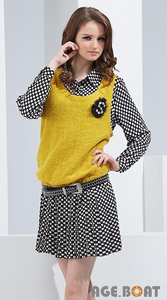 【AGE BOAT】秋冬服飾特賣~假兩件毛料背心搭點點立領洋裝  NO.152505