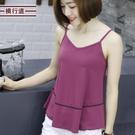 橫行道2021夏純色無袖上衣女v領女荷葉邊吊帶背心寬鬆外穿打底衫「時尚彩紅屋」