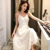 法式復古裙夏女新款吊帶長裙超仙溫柔裙收腰年會小禮服流 伊蒂斯女装