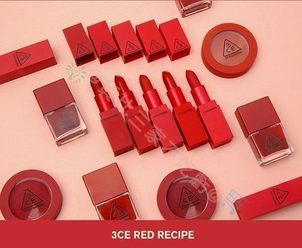 3CE Red RECIPE 唇膏 霧面唇膏 秋冬款 唇彩 口紅盤 滋潤補水 乾燥 護色 乾裂 唇膏 唇筆 潤唇膏