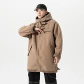 連帽外套-燈芯絨舖絨寬鬆純色長版男夾克2色73zj33【巴黎精品】