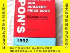 二手書博民逛書店Spon s罕見Architect s & Builder s Price Book, 1992-《建築商和建築商