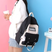 牛津布2019新款雙肩包女簡約撞色書包女韓版高中初中大學生背包女
