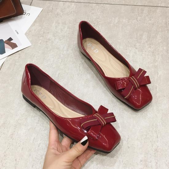 六月芬蘭方頭漆皮V口緞帶蝴蝶結平底鞋娃娃鞋女鞋(35-41大尺碼)現貨