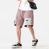 韓版工裝短褲男寬鬆直筒百搭拼色休閒中褲五分褲【繁星小鎮】