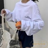 時尚上衣bf風韓版寬松長袖t恤女潮【繁星小鎮】