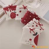 5條 純棉內褲紅草莓螺紋中腰大碼可愛甜美蝴蝶結少女學生三角褲【小獅子】