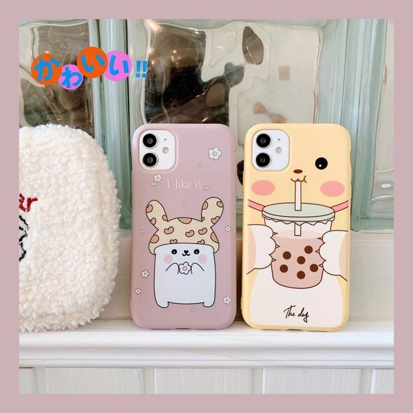 俏皮兔子 OPPO Reno4 Z A72 A91 A31 A9 A5 2020 情侶手機殼 卡通手機套 保護殼保護套 磨砂軟殼