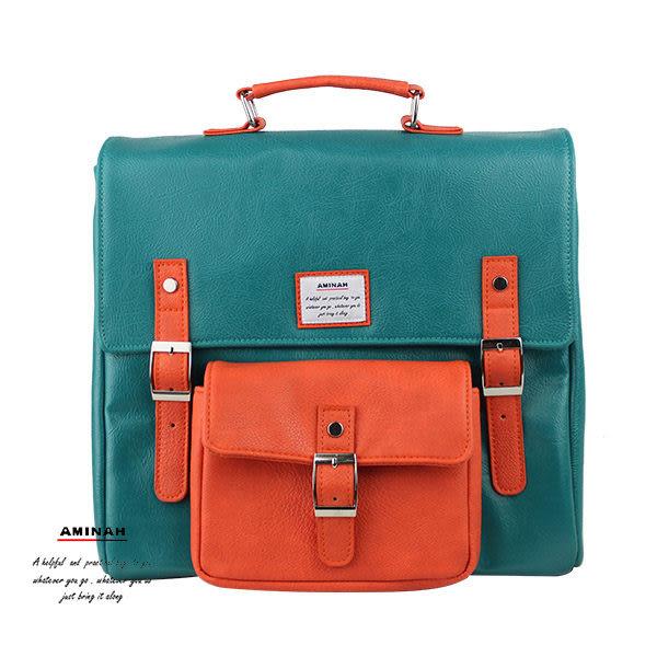深綠正點皮革後背包 AMINAH~【am-0275】