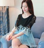 短袖女2018新款夏裝雪紡衫韓版大碼寬鬆印花遮肚上衣碎花圓領小衫·Ifashion