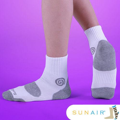 sunair 滅菌除臭襪子-自行車款1/2筒L(25~29) 白+淺灰 /SA1102