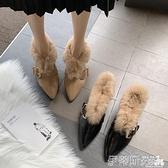 樂福鞋 歐洲站毛毛鞋女秋冬外穿2021新款潮網紅百搭尖頭粗跟懶人鞋樂福鞋 非凡小鋪 新品