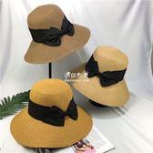日繫草帽可折疊防曬沙灘遮陽翻邊漁夫帽草帽子遮臉女  伊莎公主