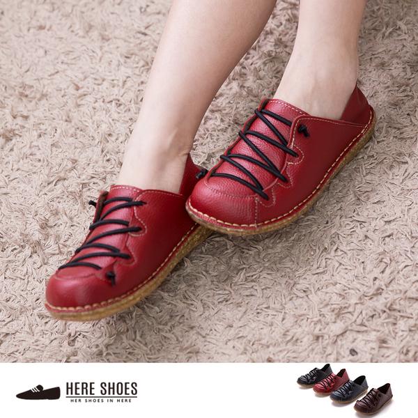 [Here Shoes]4色 復古皮革質感 繫帶造型好穿脫 鞋底舒適 小厚底休閒鞋 懶人鞋 ◆MIT台灣製─AN821