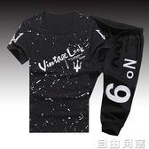 99夏季運動套裝韓版男士短褲中褲5分7分褲子學生潮流短袖T恤  自由角落
