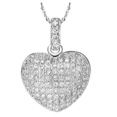 項鍊 純銀鍍白金鑲鑽吊墜-心形設計生日情人節禮物女飾品73cy3【時尚巴黎】