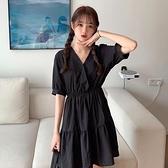復古減齡A字裙夏季2021新款女高腰遮肚寬鬆洋氣法式洋裝潮