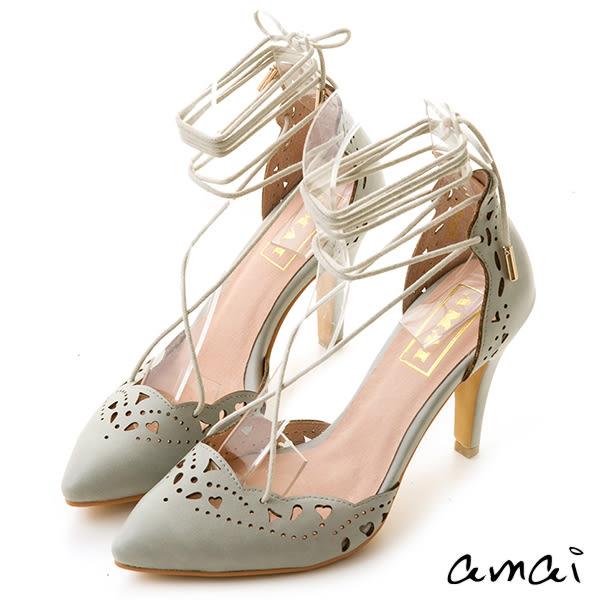 amai浪漫雕花尖頭芭蕾綁帶跟鞋 綠灰