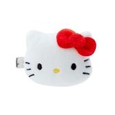 小禮堂 Hello Kitty 造型絨毛鐵髮夾 小髮夾 瀏海夾 造型髮夾 (紅白 大臉) 4550337-97649
