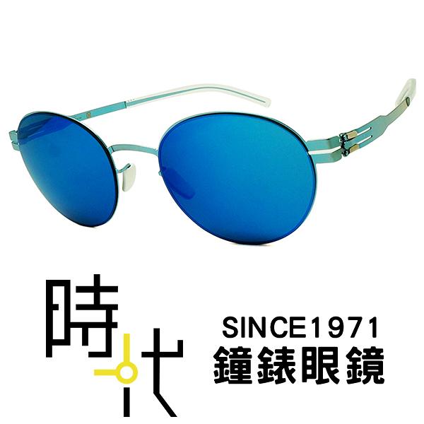 【台南 時代眼鏡 ic! berlin】claude electric light blue 德國薄鋼 無螺絲 墨鏡 橢圓框太陽眼鏡 藍 49mm