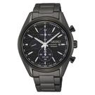 SEIKO 運動計時黑鋼太陽能腕錶V17...