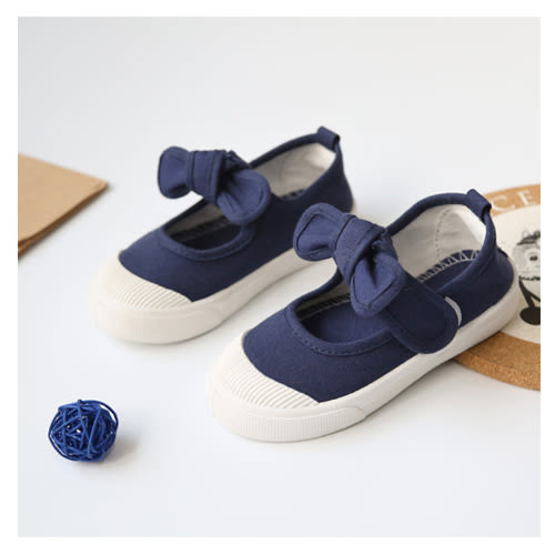 帆布鞋 女孩甜美蝴蝶結款四季兒童帆布鞋-藍