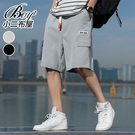 男短褲 大尺碼休閒風舒適抽繩五分短褲【NZ710112】