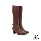 A.S.O 優雅時尚 全真皮側拉鍊奈米中跟長靴  深卡其