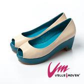 ★↘5折★Velle Moven~簡約系列~都會簡約厚底高跟鞋_撞色米白