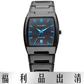 【台南 時代鐘錶 Roven Dino】羅梵迪諾 RD623B-496 演繹炫彩酒桶型腕錶 黑鋼/藍字 34mm