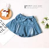甜美蝴蝶結綁帶蛋糕牛仔褲裙 牛仔褲 短褲 可愛 女童 哎北比童裝