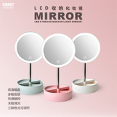 【超取399免運】LED發光收納化妝鏡 桌面圓形智能補光鏡 USB充電/電池兩用