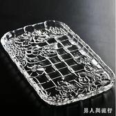 茶盤 歐式創意水晶玻璃長方形玻璃托盤 茶杯盤客廳干果盤水果盤子 FF365【男人與流行】