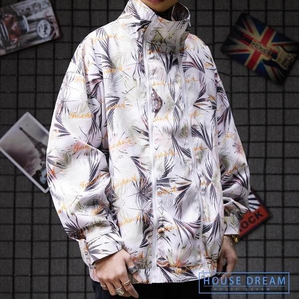 工裝風衣男 復古中國風潮流雙拉鏈高領寬鬆夾克風衣ins網紅潮男工裝外套