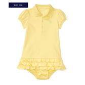 Polo Ralph Lauren 裙擺短袖洋裝+內褲套裝二件組 黃綠 | 女寶寶連衣裙(嬰幼兒/兒童/小孩)