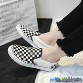 一腳蹬懶人鞋女格子帆布鞋2020年春季新款百搭韓版軟底小白樂福鞋