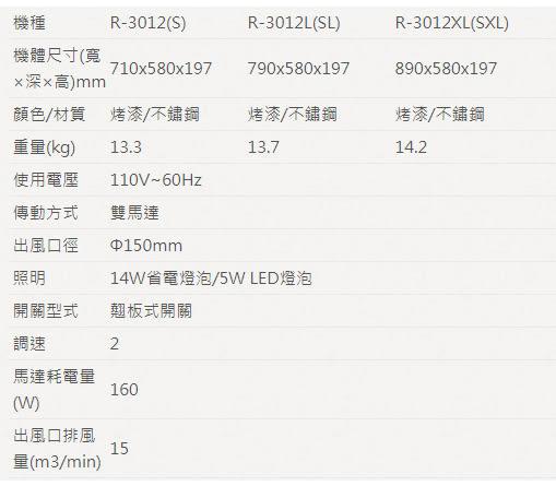 櫻花牌R-3012SXL 白鐵單層流線除油煙機(90cm)R3012SXL(限北北基地區購買安裝)