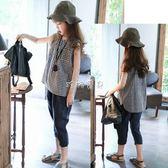 女童襯衫 洋氣韓版中大童格子無袖襯衣時尚 珍妮寶貝