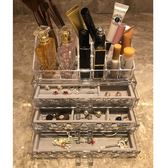 除舊迎新 桌面透明塑料首飾盒耳環耳釘收納盒手飾小飾品化妝品口紅格收納盒