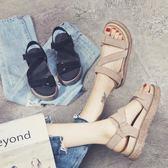 2017夏季新款女生韓版皮質中跟松糕露趾魔術貼厚底涼鞋LK1484『黑色妹妹』