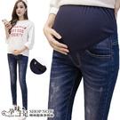 刷色抓破窄管孕婦托腹【腰圍可調】牛仔褲 藍【CTH161004】孕味十足 孕婦裝