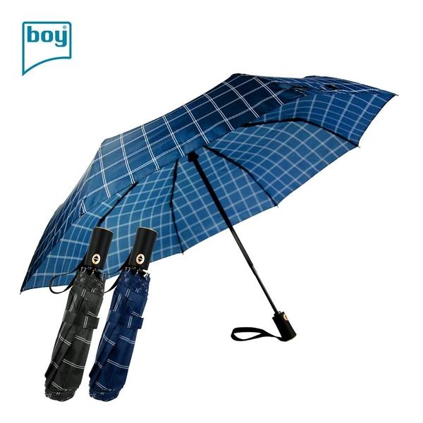 【德國boy】抗UV防風三折商務自動傘(格調 午夜藍/ 岩石灰)