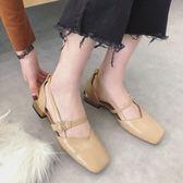尾牙年貨 復古涼鞋平底學生中跟軟妹單鞋子晚晚風