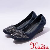 本週下殺★2017春夏新品★kadia.優雅舒適鑲鑽方頭楔型鞋(7003-58藍)